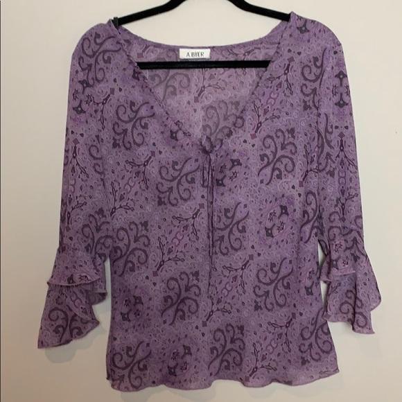 👛A.Byer Lilac paisley blouse.